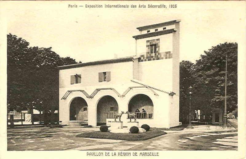 Expo Paris 1925 - Carte postale - Pavillon de Marseille