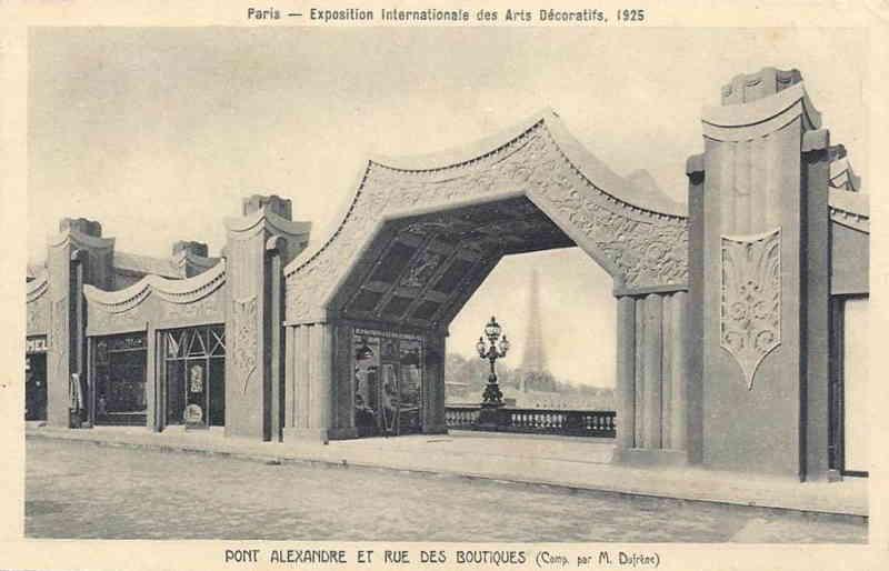 Expo Paris 1925 - Carte postale - Rue des Boutiques