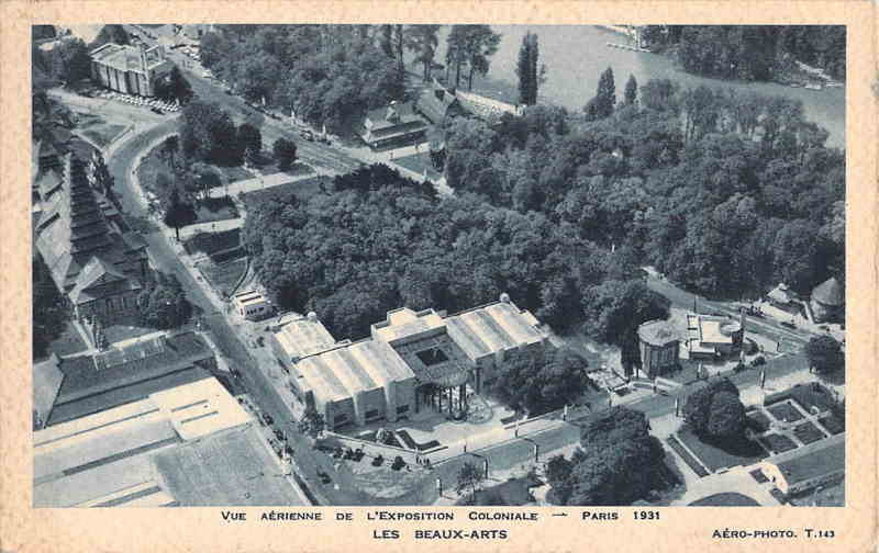 Vue aérienne - Pavillon des Beaux-Arts - Carte postale - Expo Paris 1931
