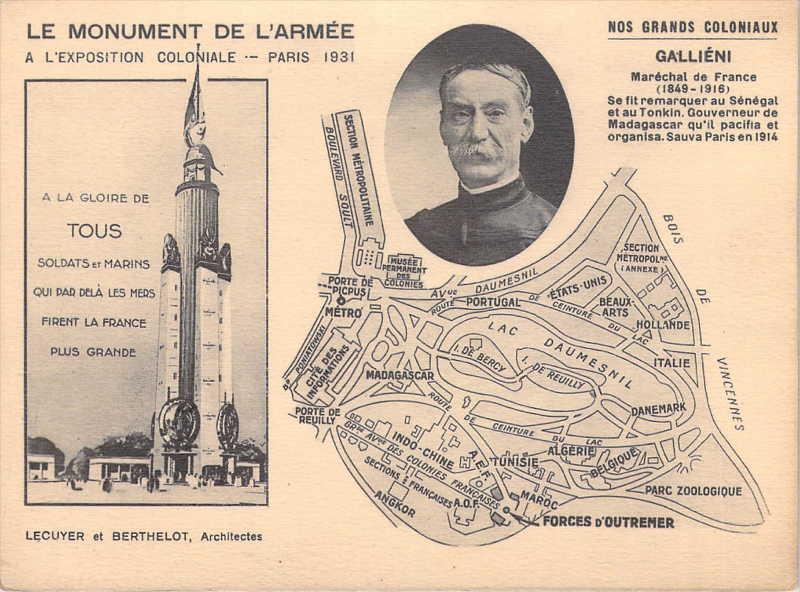 Monument de l Armée et de la Marine -   Galliéni - carte postale - expo paris 1931