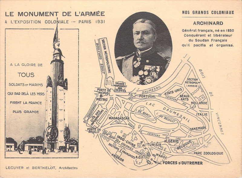 Monument de l Armée et de la Marine -   Archinard - carte postale - expo paris 1931