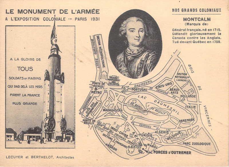 Monument de l Armée et de la Marine -   Marquis de Montcalm - carte postale - expo paris 1931