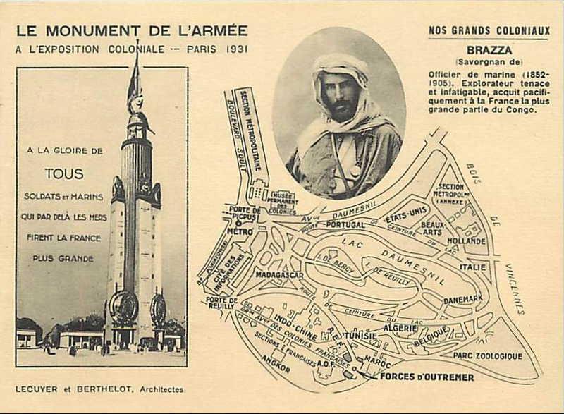 Monument de l Armée et de la Marine -   Savorgnan de Brazza - carte postale - expo paris 1931