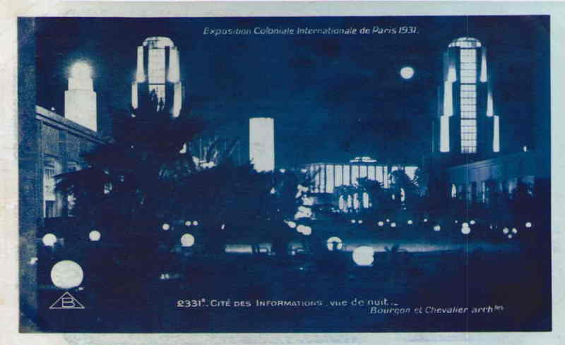 Cité Internationale des Informations la nuit- Carte Postale - Exposition Coloniale de Paris 1931