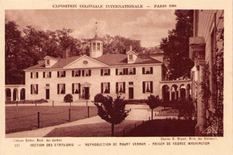 Section des Etats-Unis - Reproduction de Mount Vernon - Maison de George Washington - Carte Postale - Exposition Coloniale de Paris 1931