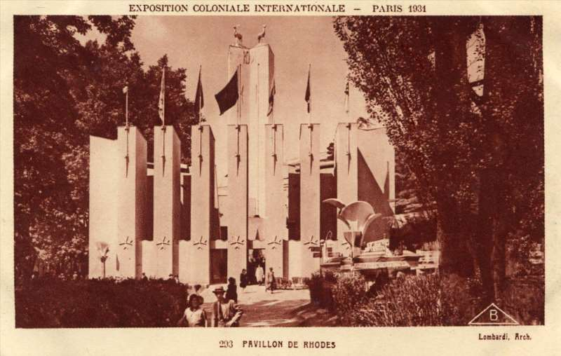 Section italienne - Auberge de Rhodes - Carte Postale - Exposition Coloniale de Paris 1931