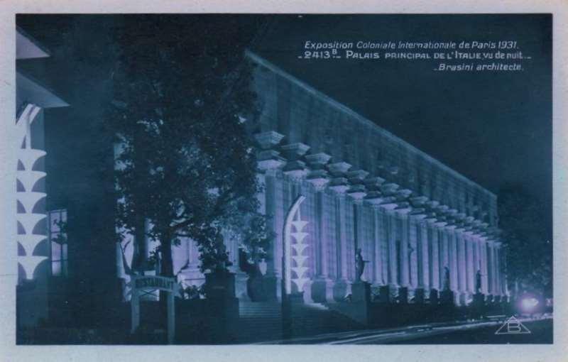 Palais Italien la nuit- Carte Postale - Exposition Coloniale de Paris 1931