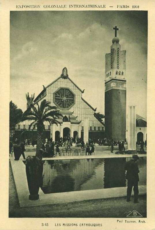 pavillon des missions catholiques -  carte postale - expo paris 1931