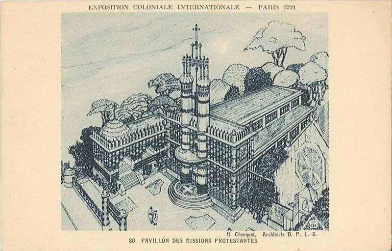 pavillon des missions protestantes -  carte postale - expo paris 1931