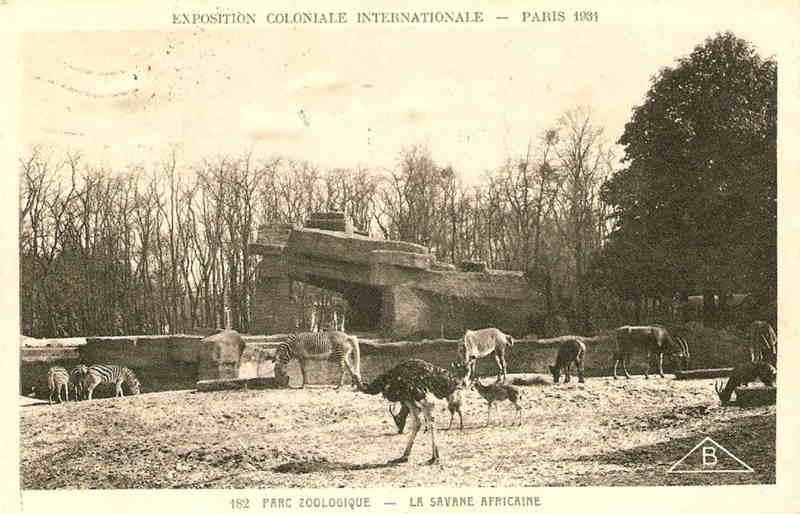 Parc Zoologique de Vincennes - La Savane Africaine - Exposition Coloniale Paris 1931