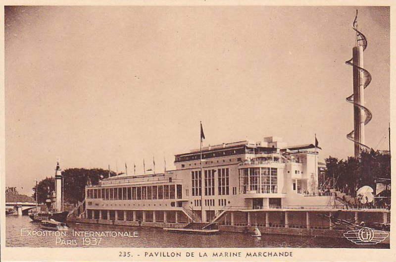 Expo Paris 1937 - Carte postale - Palais de la Marine Marchande