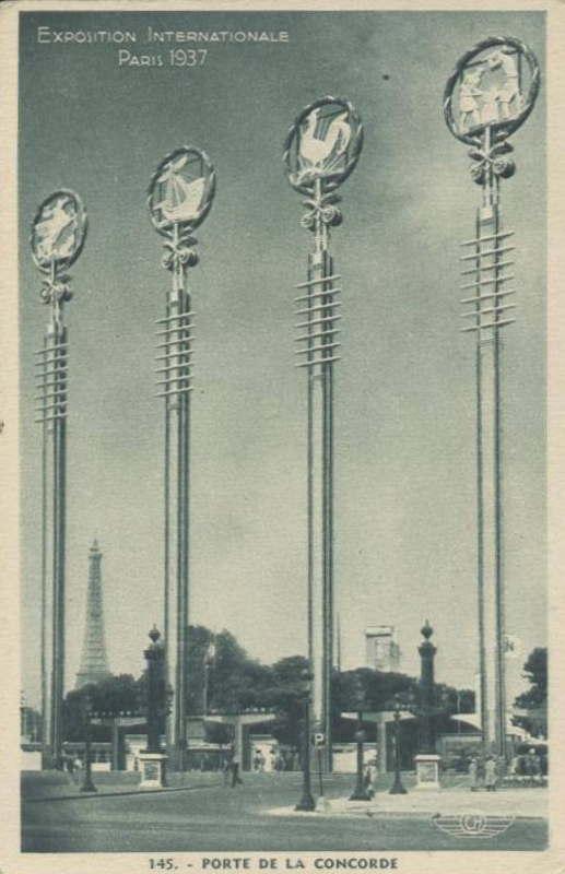 Expo Paris 1937 - Carte postale - Porte de la Concorde