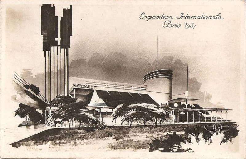 Expo Paris 1937 - Carte postale - Pavillon de la Solidarité Nationale