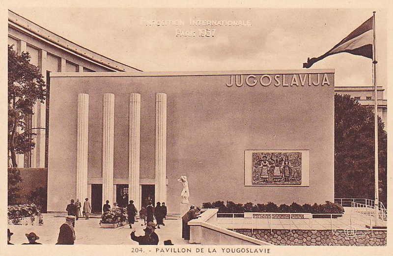Expo Paris 1937 - Carte postale - Pavillon de la Yougoslavie