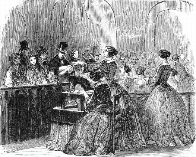 Présentation de la machine à coudre Singer à l Exposition Universelle de Paris 1855