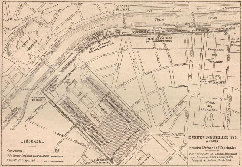 Expo Paris 1889 - Trajet du chemin de fer-tramway Decauville