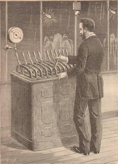 Expo Paris 1889 - Fontaine lumineuse de Coutan, Figure 4 Intérieur du kiosque d observation