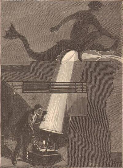 Expo Paris 1889 - Fontaine lumineuse de Coutan, figure 7 Disposition des projecteurs électriques éclairant les jets horizontaux