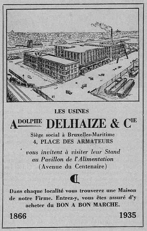 Expo Bruxelles 1935 - Publicité - Les usines Adolphe Delhaize et Cie