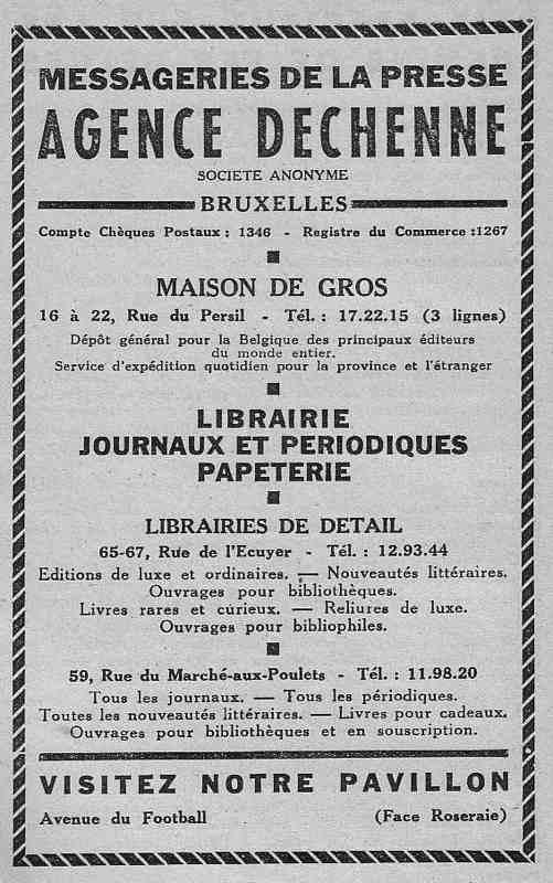Expo Bruxelles 1935 - Publicité - Agence Dechenne