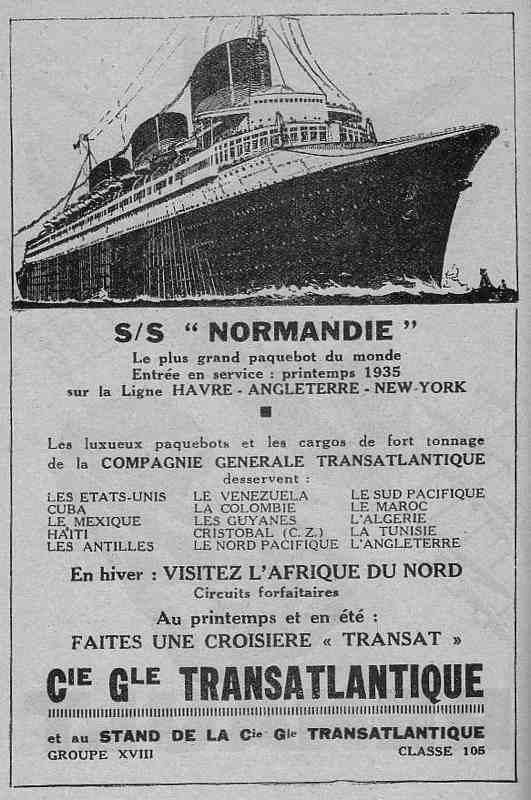 Expo Bruxelles 1935 - Publicité - Compagnie Générale Transatlantique