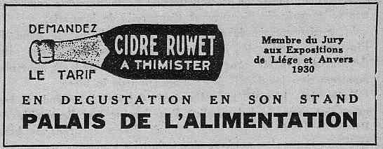 Expo Bruxelles 1935 - Publicité - Cidre Ruwet
