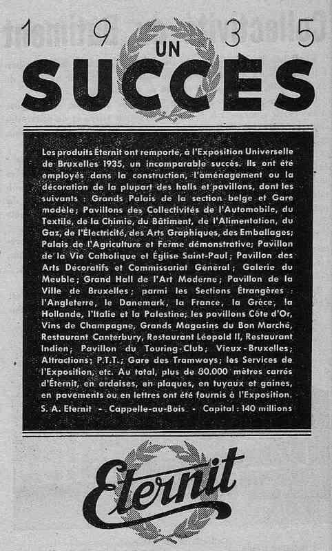 Expo Bruxelles 1935 - Publicité - Eternit