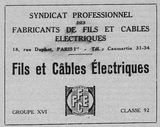 Expo Bruxelles 1935 - Publicité - Syndicat Professionnel des Fabricants de fils et Cables Electriques