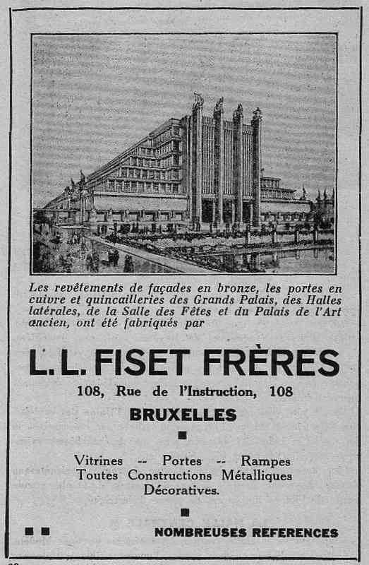 Expo Bruxelles 1935 - Publicité - L. L. Fiset Frères