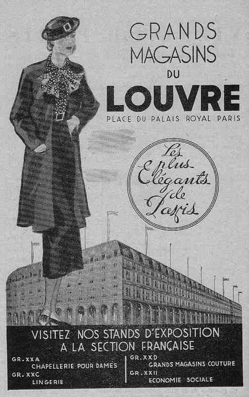 Expo Bruxelles 1935 - Publicité - Grands Magasins du Louvre