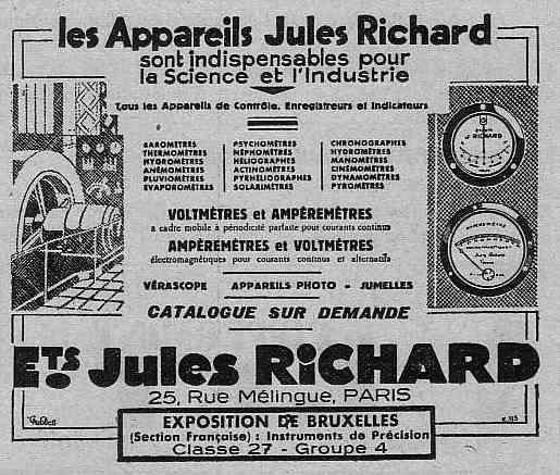 Expo Bruxelles 1935 - Publicité - Les Appareils Jules Richard