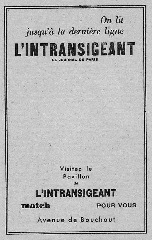 Expo Bruxelles 1935 - Publicité - L Intransigeant