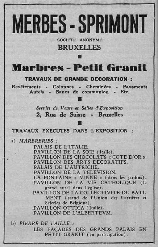Expo Bruxelles 1935 - Publicité - Merbes - Sprimont