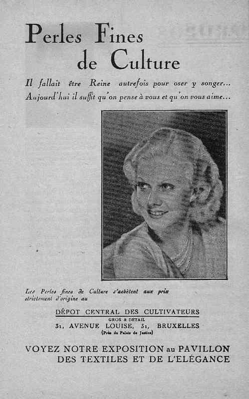 Expo Bruxelles 1935 - Publicité - Perles Fines de Culture