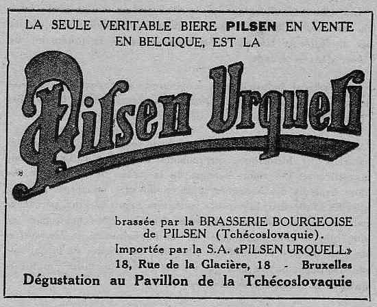 Expo Bruxelles 1935 - Publicité - Pilsen Urqueli