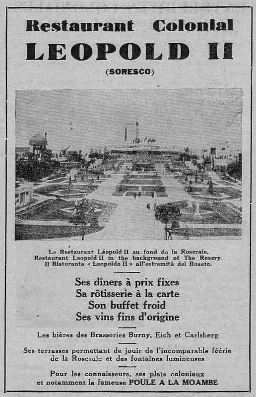 Expo Bruxelles 1935 - Publicité - Restaurant Colonial Leopold II