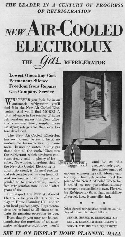 Expo Chicago 1933 - Advertisement - New Air-Cooled Electrolux