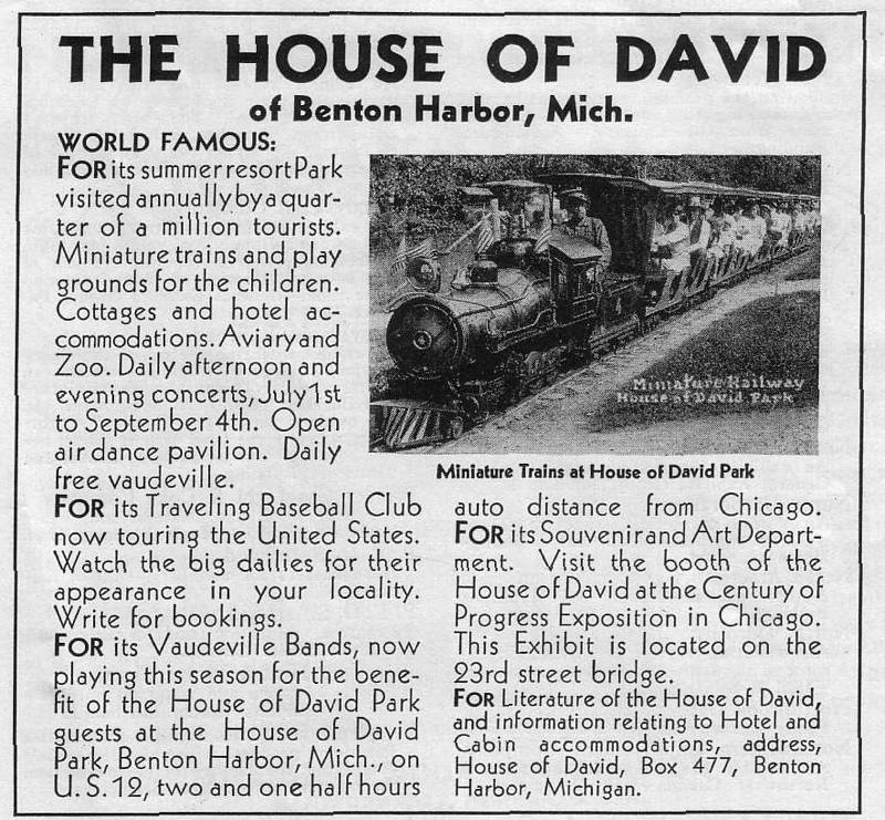Expo Chicago 1933 - Advertisement - The house of David
