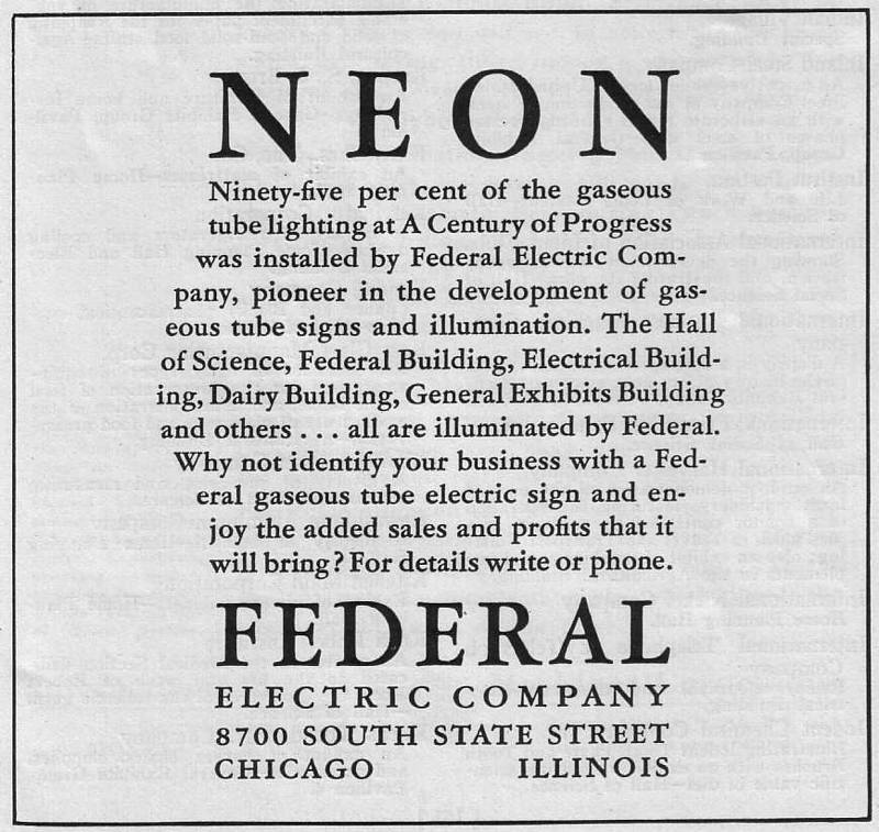 Expo Chicago 1933 - Advertisement - Neon - Federal Electric Company