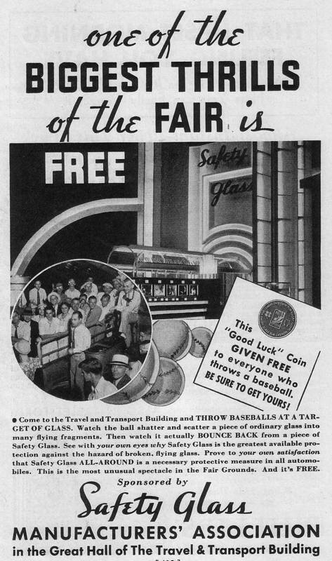 Expo Chicago 1933 - Advertisement - Safety Glass