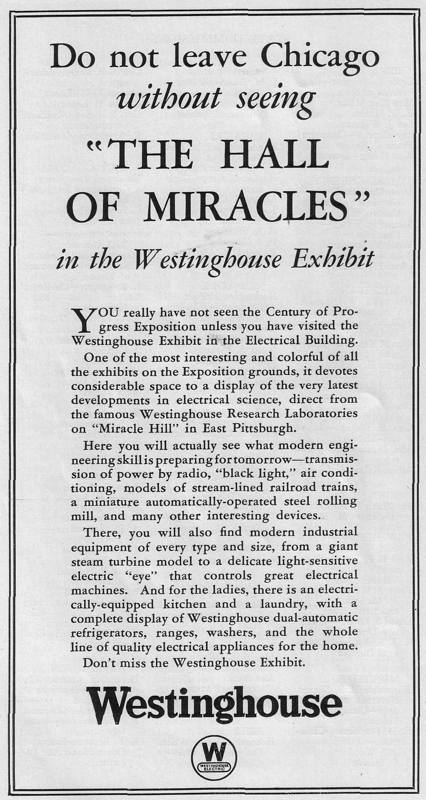 Expo Chicago 1933 - Advertisement - Westinghouse  - The hall of miracles