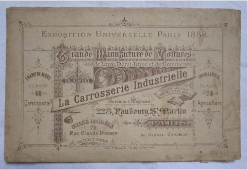 Exposition universelle de Paris 1889 - La carrosserie industrielle
