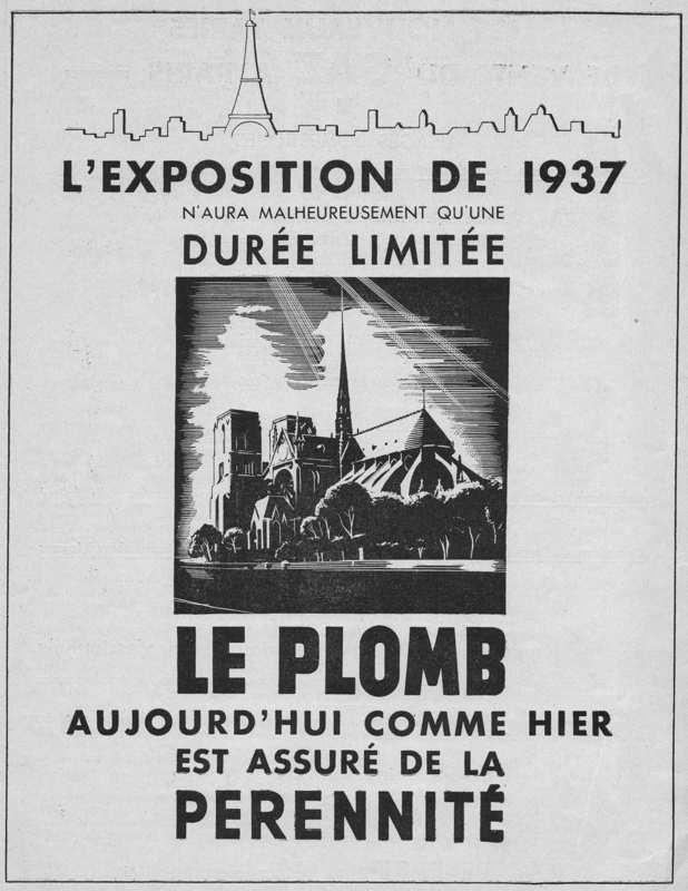 Expo Paris 1937 - Publicté - Le Plomb