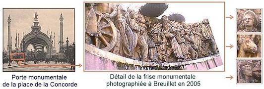 Expo Paris 1900 - Vestige - Bas relief de la porte monumentale de la Concorde