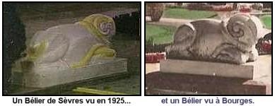 Expo Paris 1925 - vestige -  Béliers du pavillon de Sèvres